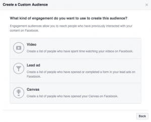 Create Facebook Custom Audience with Engagement on Facebook